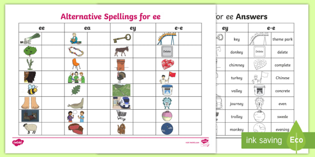 New Alternative Spellings Ee Ey And E E Table