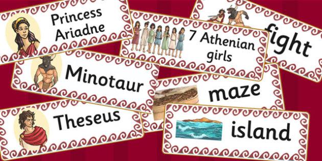 Theseus and the Minotaur Word Cards - theseus, minotaur, cards