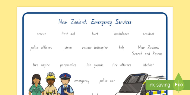 New Zealand Emergency Services Word Mat - New Zealand Natural Disasters, earthquake, tsunami, volcano, monsoon, hurricane, flood, tornado, pol