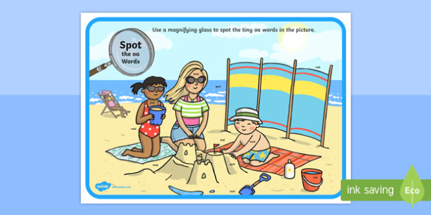 Phase 3 oa Words Beach Scene Magnifying Glass Activity Sheet, worksheet