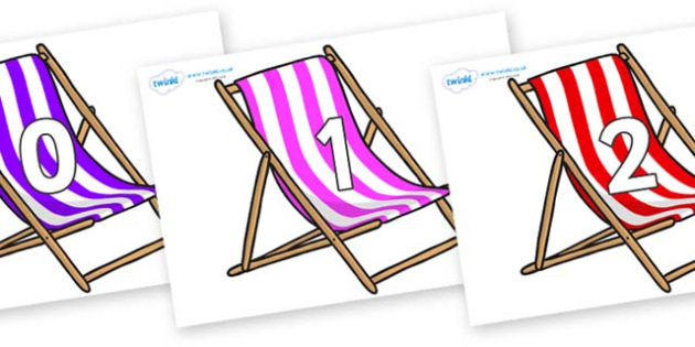 Numbers 0-100 on Deck Chairs - 0-100, foundation stage numeracy, Number recognition, Number flashcards, counting, number frieze, Display numbers, number posters