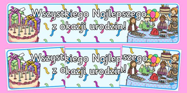Banner na gazetkę Urodziny po polsku
