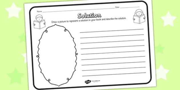 Solution Reading Comprehension Activity - solution, comprehension, comprehension worksheet, character, discussion prompt, reading, discuss, solution worksheet