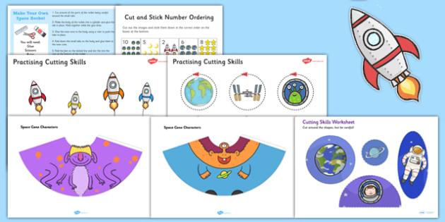 Space Themed Scissor Skills Pack - space, themed, scissor skills, pack, fine, motor, control
