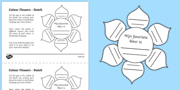 MFL Dutch Colour Flowers Activity Sheet, worksheet