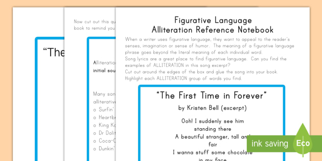 Figurative Language And Alliteration Worksheet Activity Sheets