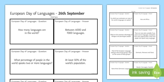 European Day of Languages Interesting Facts Question Cards