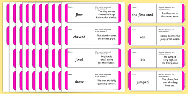 Australian Year 2 Action Verb Loop Cards - australia, Phonics, grammar, language, literacy, action verbs, loop cards, talking, listening, ACELA1452