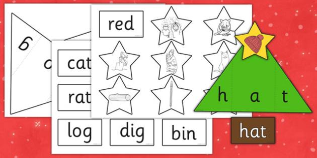 Christmas Tree CVC Words Activity - game, activity, fun, CVC words, christmas activity, christmas, xmas, christmas CVC word game, christmas CVC word activity, fun activity, fun game, learning, play