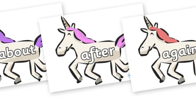 KS1 Keywords on Unicorns - KS1, CLL, Communication language and literacy, Display, Key words, high frequency words, foundation stage literacy, DfES Letters and Sounds, Letters and Sounds, spelling