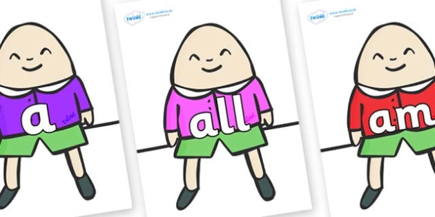 Foundation Stage 2 Keywords on Humpty Dumpty - FS2, CLL, keywords, Communication language and literacy,  Display, Key words, high frequency words, foundation stage literacy, DfES Letters and Sounds, Letters and Sounds, spelling