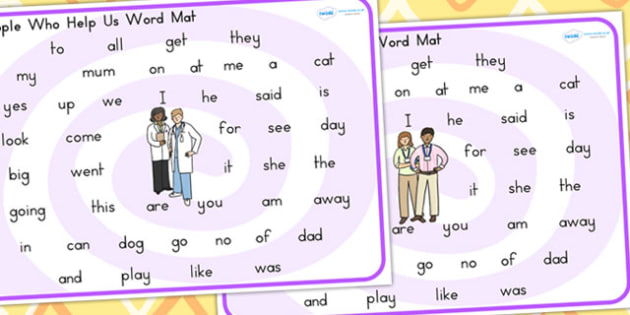 People Who Help Us Prep and Kindergarten Word Mat - keywords