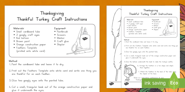 Thanksgiving Thankful Turkey Craft Instructions