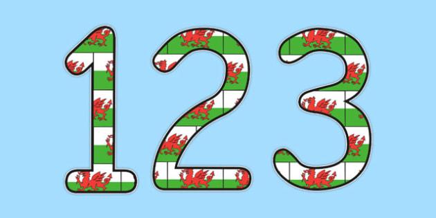 Welsh Display Numbers Flag - displays, number, flags, poster