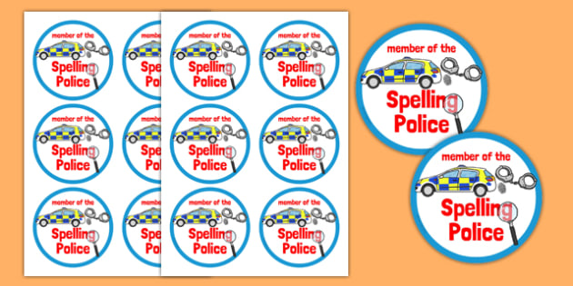 Spelling Police Badges - spelling police, spell, police, badges