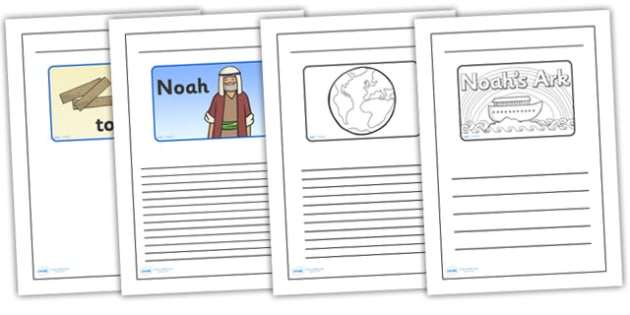 Noah's Ark Black and White Lined Writing Frames - noahs ark, noahs ark writing frames, noahs ark colour and write, bible stories, bible story templates