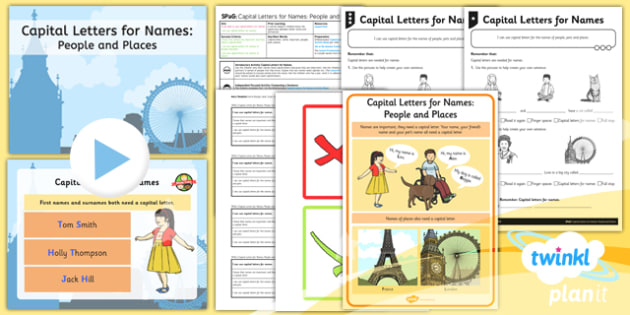 PlanIt Y1 SPaG Lesson Pack: Capital Letters for Names: People and Places - planit, spag, lesson, pack, capital letters