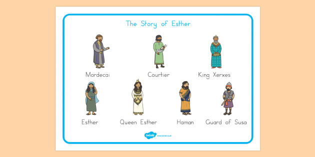 The Story of Esther Bible Story Word Mat - usa, america, mats, literacy, visual, esther, bible