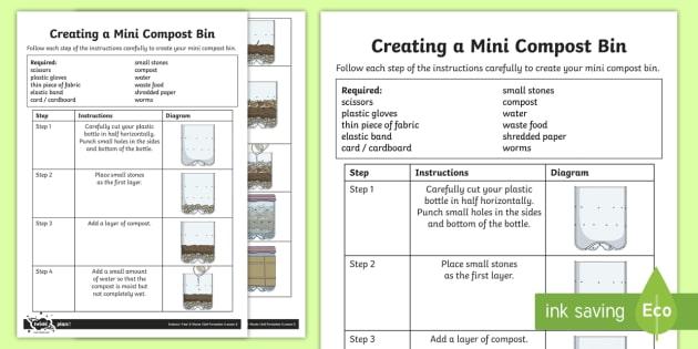 Creating a Mini Compost Bin Instruction Sheet - compost bin, sheet