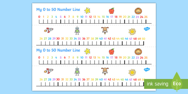 Numbers 0 50 On A Number Line Count Counting Counting Aid