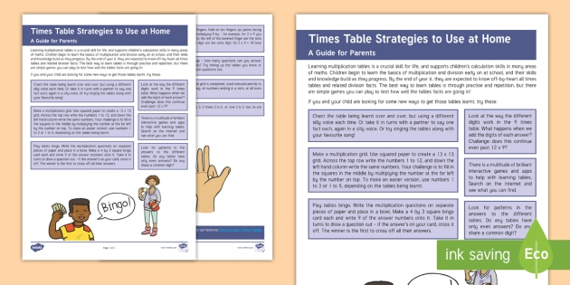 Useful Strategies For Learning Multiplication Tables Parent And