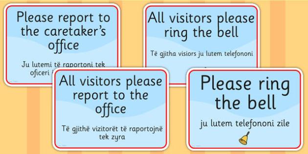 School Office Reception Signs EAL Albanian Version - EAL display