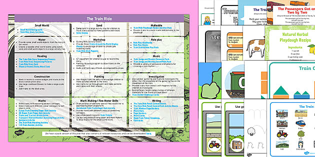 EYFS Enhancement Ideas and Resources Pack to Support Teaching on The Train Ride - Early Years, continuous provision, early years planning, adult led, transport, travel, journeys, June Crebbin, planning