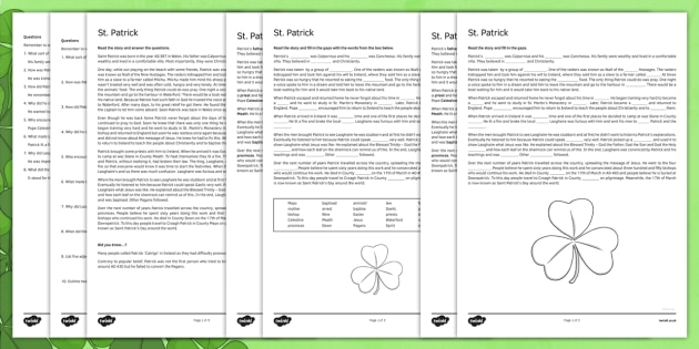 Saint Patrick Fifth and Sixth Class Reading Comprehension Activity - gaeilge, Saint Patrick, comprehension, reading, questions, religion, Ireland