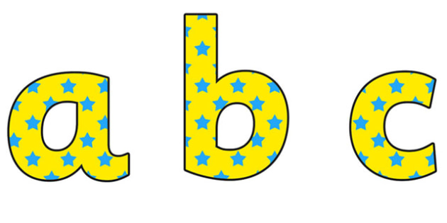 Yellow and Blue Stars Lowercase Display Lettering - yellow and blue stars, stars display lettering, lowercase display lettering, display alphabet