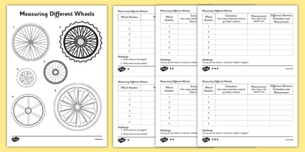 KS1 Maths Wheels Measuring Activity Sheet, worksheet