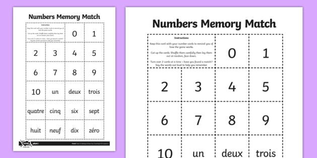 french numbers 0 10 memory match game french memory game. Black Bedroom Furniture Sets. Home Design Ideas