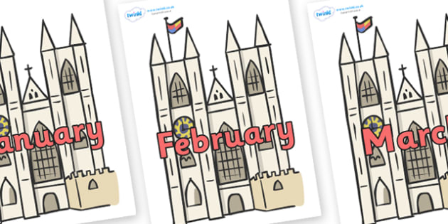 Months of the Year on Cathedrals - Months of the Year, Months poster, Months display, display, poster, frieze, Months, month, January, February, March, April, May, June, July, August, September