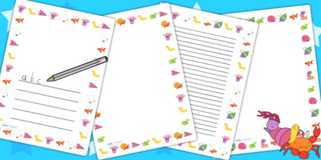 Page Borders to Support Teaching on Sharing a Shell - writing frames, lined pages, story