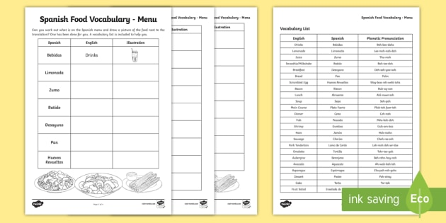 Spanish Food Vocabulary Menu - spanish, food, vocabulary, language, spain
