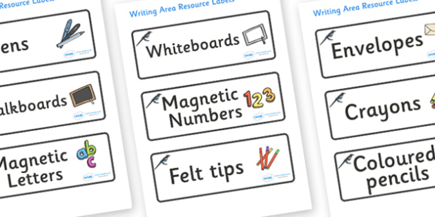 Magpie Themed Editable Writing Area Resource Labels - Themed writing resource labels, literacy area labels, writing area resources, Label template, Resource Label, Name Labels, Editable Labels, Drawer Labels, KS1 Labels, Foundation Labels, Foundation