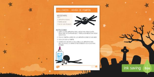 Halloween hacer una araña Manualidad-Spanish