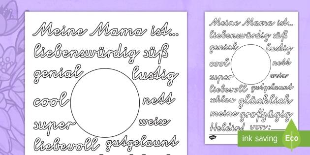 Meine Mama ist... Arbeitsblatt: Lesen und Malen - Muttertag