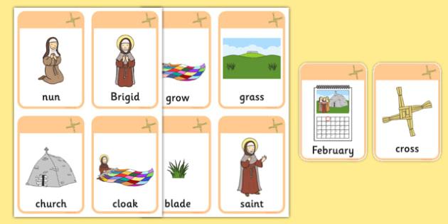 Saint Brigid's Cloak Vocabulary Flashcards - saint brigid, irish history, ireland, saint, patron, vocabulary, flashcards