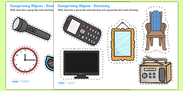 Electrical Items Sorting Card Activity - Electric, sorting ...