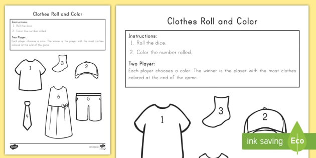 Clothes Roll And Color Worksheet / Worksheet