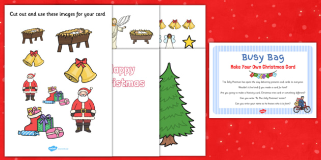 Make Your Own Christmas Card Busy Bag Prompt Card and Resource Pack - Christmas, EYFS, card, busy bag
