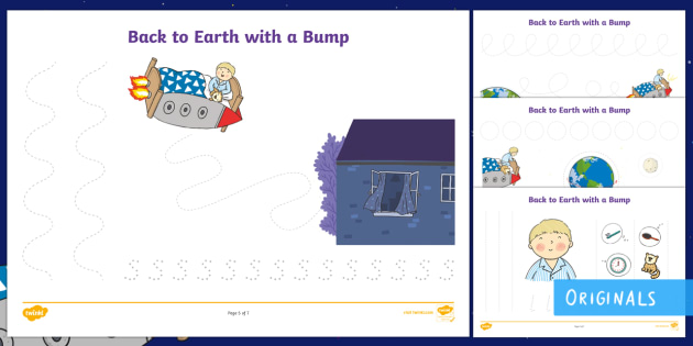 Back to Earth with a Bump Pencil Control Activity Sheets - KS1, EYFS, space, finger fitness, planets, hal, story, twinkl fiction