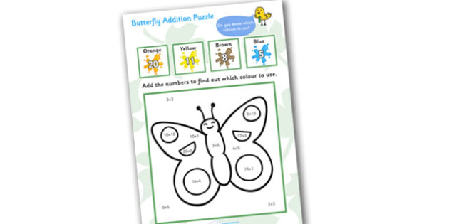Butterfly Addition Puzzle, addition, math games, number work