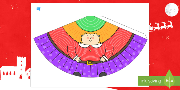 Girl Christmas Elf Cone Character - 3D paper craft, cone, cone character, elves, elf, Santa, Santa's workshop, Christmas