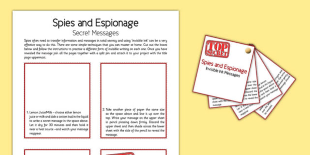 Spies and Espionage Secret Messages - spies, espionage, secret messages, home education