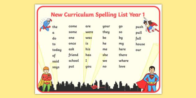 Superhero Themed Spelling List Year 1 Word Mat - superhero, spelling list, spelling, list, year 1, word mat