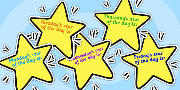 Editable Weekday Star of the Week on Stars - star of the week