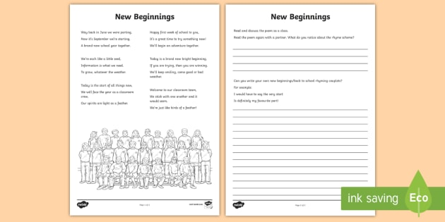new beginnings poem worksheet worksheet school poem rhyme rhyming. Black Bedroom Furniture Sets. Home Design Ideas