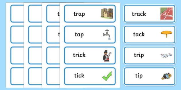 'tr' and 't' Near Minimal Pair Word Cards