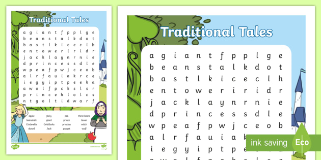 Traditional Tales Themed Word Search - traditional tales, wordsearch, traditional tales themed wordsearch, traditional tales word activity